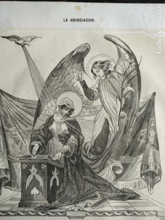 ANTIGUO GRABADO SIGLO XIX VIDA DE LA SANTISIMA VIRGEN IMPRESO EN 1853 - LA ANUNCIACION (Arte - Arte Religioso - Grabados)