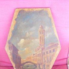 Arte: OLEO SOBRE TABLA. VENECIANO MUY ANTIGUO . PUETE TORRE 46X31CM.. Lote 171546962