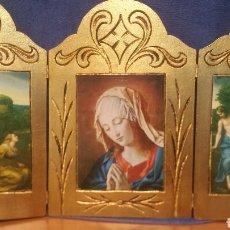 Art: TRÍPTICO RELIGIOSO ANTIGUO EN MADERA MACIZA. Lote 171929725