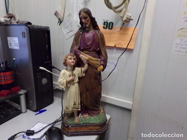 GRAN FIGURA ANTIGUA SAN JOSE Y NIÑO JESUS OJOS DE CRISTAL QUIZAS OLOT NUMERADA 45 CM ALTURA (Arte - Arte Religioso - Escultura)