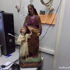 Arte: GRAN FIGURA ANTIGUA SAN JOSE Y NIÑO JESUS OJOS DE CRISTAL QUIZAS OLOT NUMERADA 45 CM ALTURA. Lote 171968288