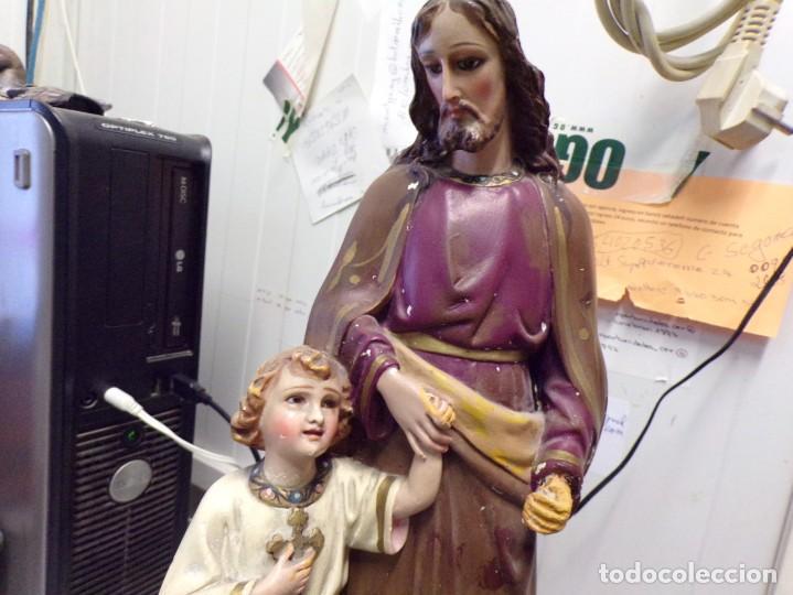 Arte: gran figura antigua san jose y niño jesus ojos de cristal quizas olot numerada 45 cm altura - Foto 2 - 171968288