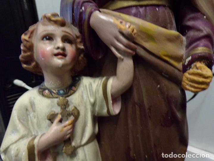 Arte: gran figura antigua san jose y niño jesus ojos de cristal quizas olot numerada 45 cm altura - Foto 3 - 171968288