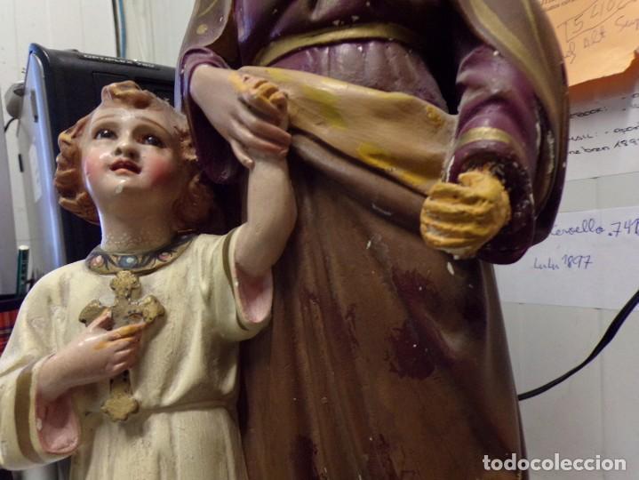 Arte: gran figura antigua san jose y niño jesus ojos de cristal quizas olot numerada 45 cm altura - Foto 5 - 171968288