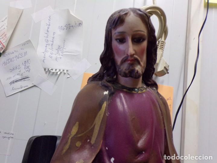 Arte: gran figura antigua san jose y niño jesus ojos de cristal quizas olot numerada 45 cm altura - Foto 6 - 171968288