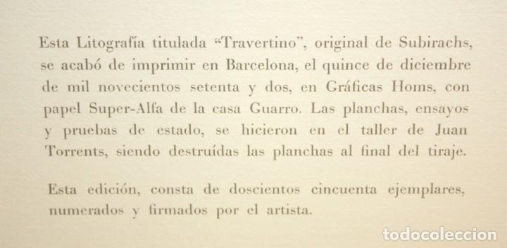 Arte: SUBIRACHS -LITOGRAFIA - TITULADA TRAVERTINO - 113/250. - Foto 3 - 171978134