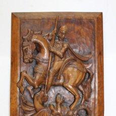 Arte: ICONO RELIGIOSO DE SAN JORGE SANT JORDI EN MADERA TALLADA A MANO - MEDIADOS DEL SIGLO XX. Lote 172056969