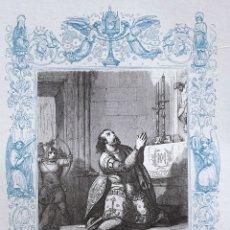 Arte: SAN CANUTO REY DE DINAMARCA Y MARTIR - GRABADO DÉCADAS 1850-1860 - BUEN ESTADO. Lote 172166958