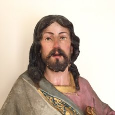 Arte: FIGURA RELIGIOSA ANTIGUA - ANTIGUO SAGRADO CORAZON DE JESÚS - ESCULTURA OLOT ARTE CRISTIANO - 72 CM. Lote 263809580