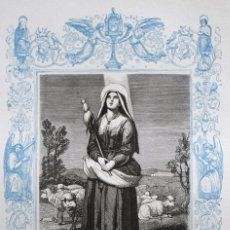 Arte: SANTA GENOVEVA - GRABADO DÉCADAS 1850-1860 - BUEN ESTADO. Lote 172167607