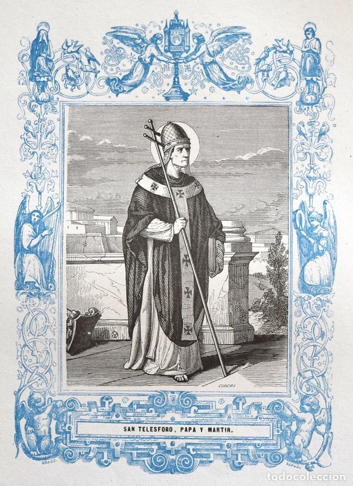 SAN TELESFORO, PAPA Y MARTIR - GRABADO DÉCADAS 1850-1860 - BUEN ESTADO (Arte - Arte Religioso - Grabados)