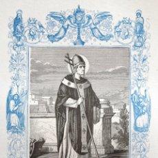 Arte: SAN TELESFORO, PAPA Y MARTIR - GRABADO DÉCADAS 1850-1860 - BUEN ESTADO. Lote 172167922