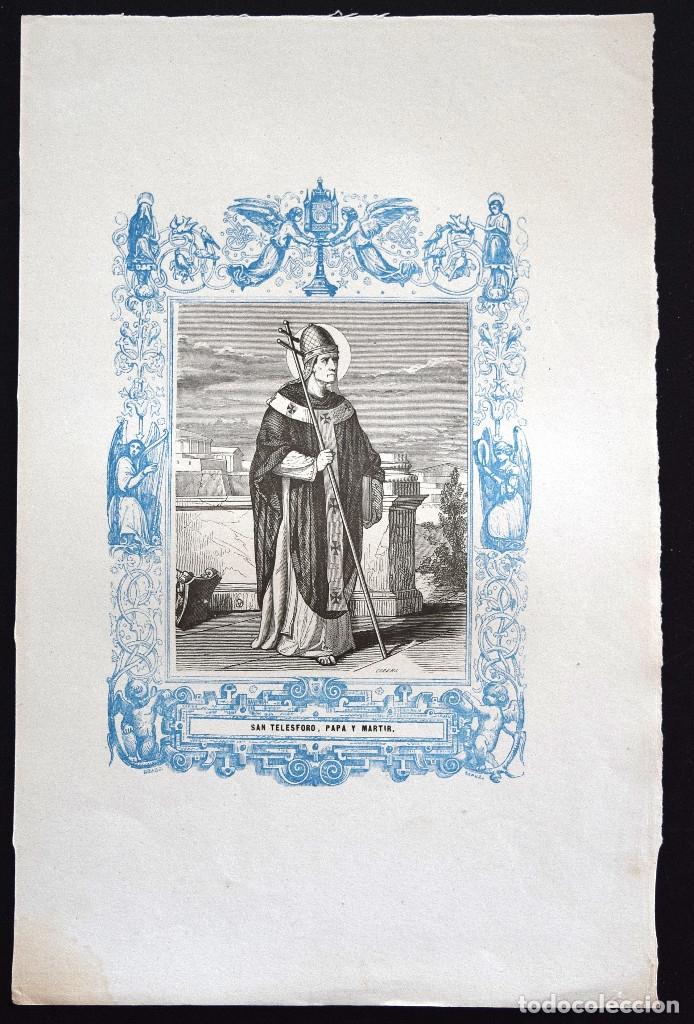 Arte: SAN TELESFORO, PAPA Y MARTIR - GRABADO DÉCADAS 1850-1860 - BUEN ESTADO - Foto 2 - 172167922