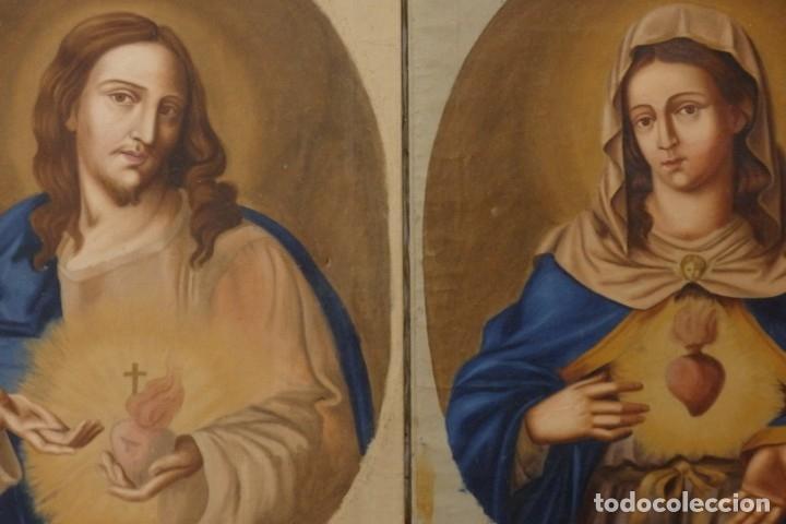 SAGRADO CORAZÓN DE JESÚS Y DE MARÍA. PAREJA DE ÓLEOS SOBRE LIENZO DE 84 X 63 CM CADA UNO. PPS. S. XX (Arte - Arte Religioso - Pintura Religiosa - Oleo)