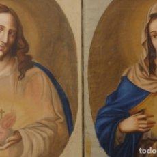 Arte: SAGRADO CORAZÓN DE JESÚS Y DE MARÍA. PAREJA DE ÓLEOS SOBRE LIENZO DE 84 X 63 CM CADA UNO. PPS. S. XX. Lote 172186449