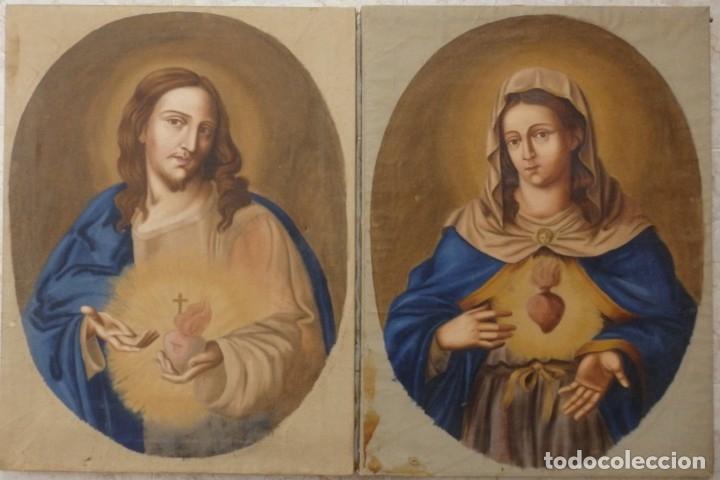 Arte: Sagrado Corazón de Jesús y de María. Pareja de óleos sobre lienzo de 84 x 63 cm cada uno. Pps. S. XX - Foto 2 - 172186449