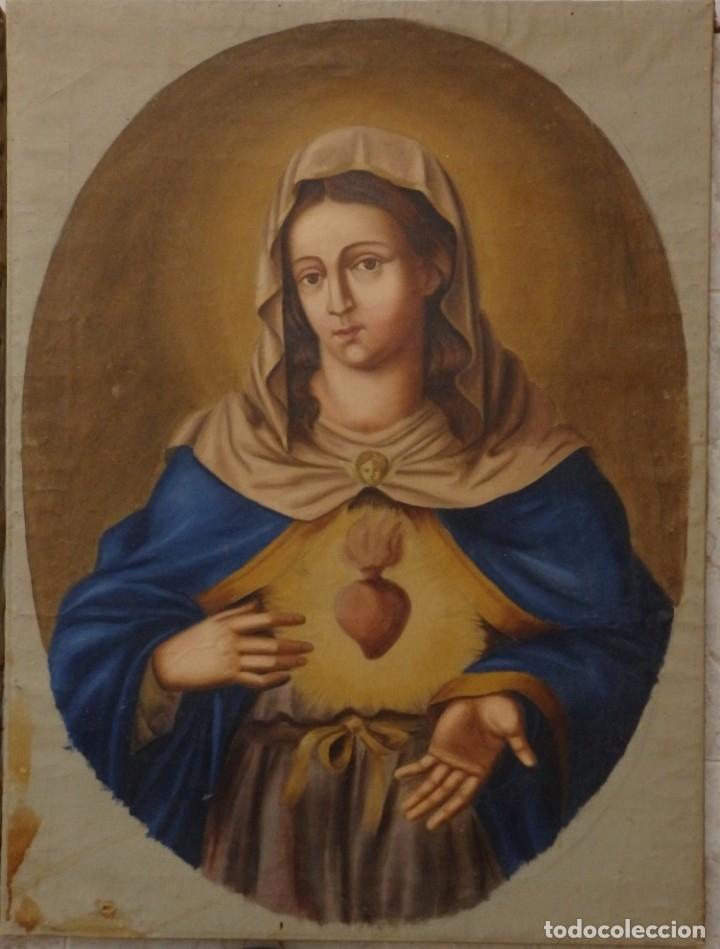 Arte: Sagrado Corazón de Jesús y de María. Pareja de óleos sobre lienzo de 84 x 63 cm cada uno. Pps. S. XX - Foto 3 - 172186449