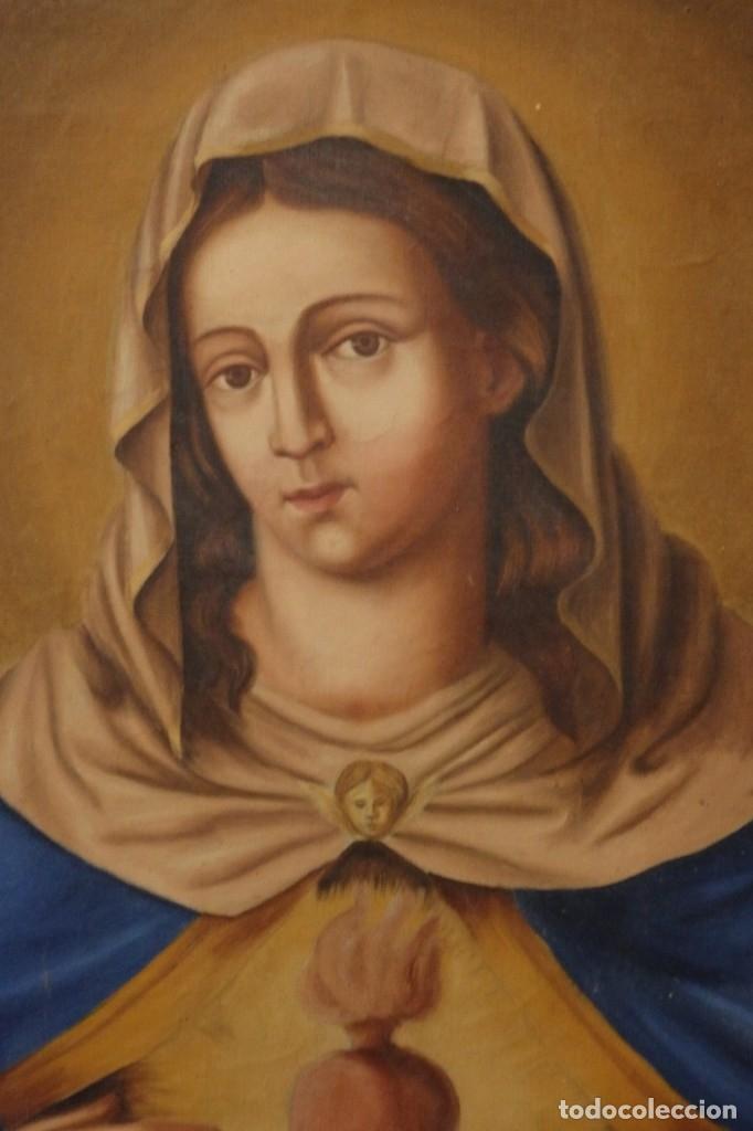 Arte: Sagrado Corazón de Jesús y de María. Pareja de óleos sobre lienzo de 84 x 63 cm cada uno. Pps. S. XX - Foto 4 - 172186449