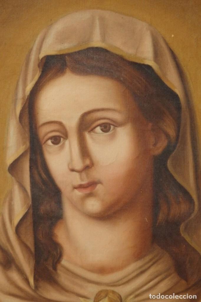 Arte: Sagrado Corazón de Jesús y de María. Pareja de óleos sobre lienzo de 84 x 63 cm cada uno. Pps. S. XX - Foto 5 - 172186449