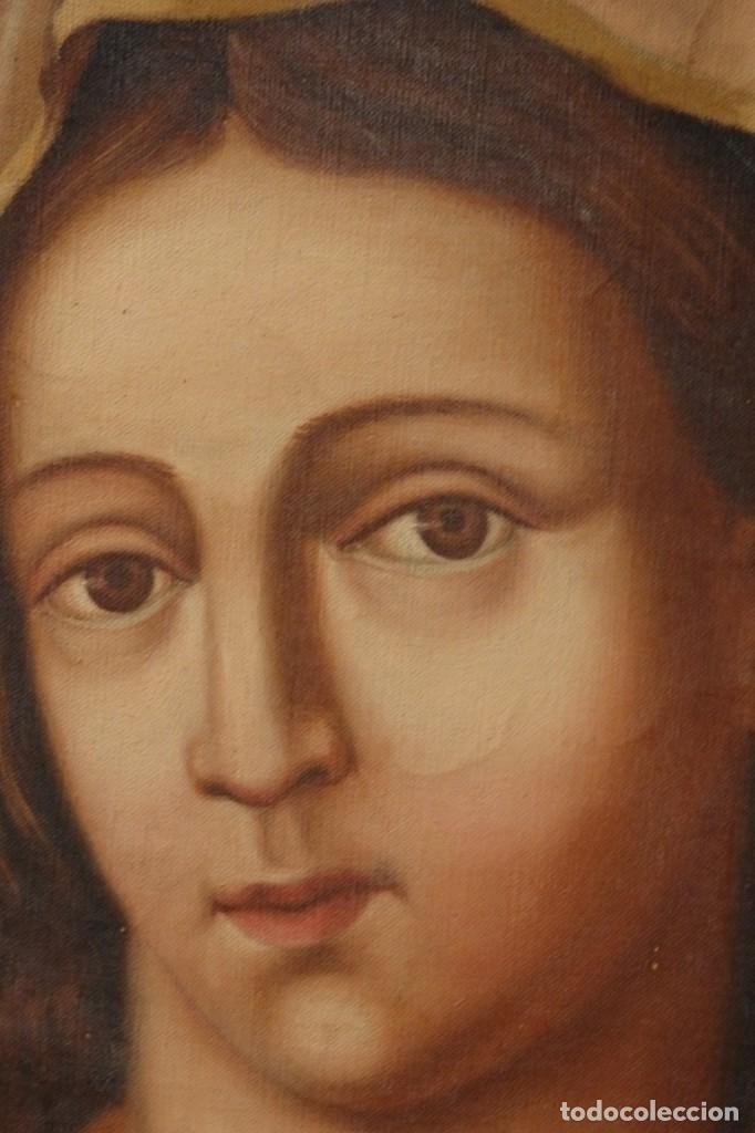 Arte: Sagrado Corazón de Jesús y de María. Pareja de óleos sobre lienzo de 84 x 63 cm cada uno. Pps. S. XX - Foto 6 - 172186449