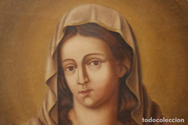 Arte: Sagrado Corazón de Jesús y de María. Pareja de óleos sobre lienzo de 84 x 63 cm cada uno. Pps. S. XX - Foto 7 - 172186449