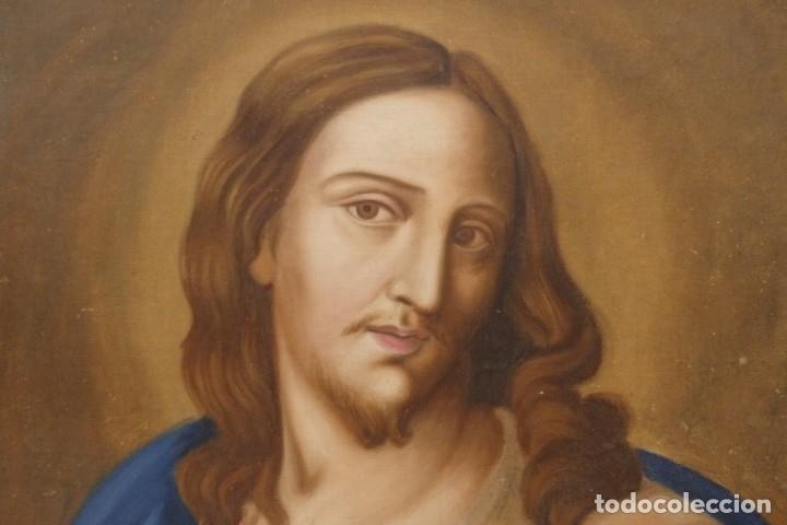 Arte: Sagrado Corazón de Jesús y de María. Pareja de óleos sobre lienzo de 84 x 63 cm cada uno. Pps. S. XX - Foto 12 - 172186449