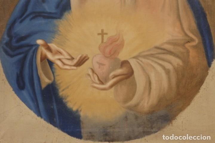 Arte: Sagrado Corazón de Jesús y de María. Pareja de óleos sobre lienzo de 84 x 63 cm cada uno. Pps. S. XX - Foto 14 - 172186449