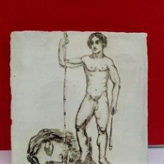 Arte: BALDOSA «RAJOLA» ESMALTADA A MANO AL AGUA CON MOTIVO DE DAVID Y GOLIAT. Lote 172202390