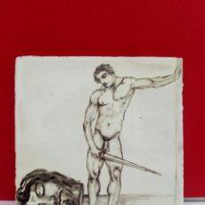 Arte: BALDOSA «RAJOLA» ESMALTADA A MANO AL AGUA CON MOTIVO DE DAVID Y GOLIAT. Lote 172202614