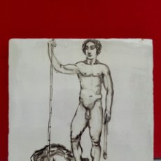 Arte: BALDOSA «RAJOLA» ESMALTADA A MANO AL AGUA CON MOTIVO DE DAVID Y GOLIAT. Lote 172202779