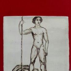 Arte: BALDOSA «RAJOLA» ESMALTADA A MANO AL AGUA CON MOTIVO DE DAVID Y GOLIAT. Lote 172202984