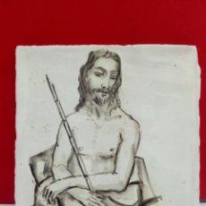 Arte: BALDOSA «RAJOLA» ESMALTADA A MANO AL AGUA CON MOTIVO DE ECCEHOMO .. Lote 172203634