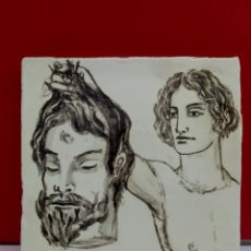 Arte: BALDOSA «RAJOLA» ESMALTADA A MANO AL AGUA CON MOTIVO DE DAVID Y GOLIAT. Lote 172204374