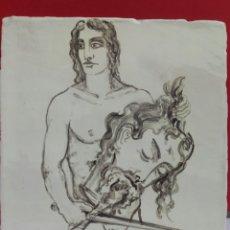 Arte: BALDOSA «RAJOLA» ESMALTADA A MANO AL AGUA CON MOTIVO DE DAVID Y GOLIAT. Lote 172204604