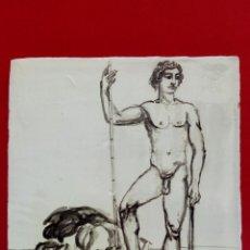 Arte: BALDOSA «RAJOLA» ESMALTADA A MANO AL AGUA CON MOTIVO DE DAVID Y GOLIAT. Lote 172204878