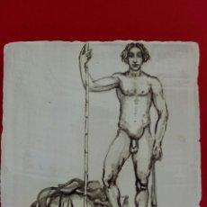 Arte: BALDOSA «RAJOLA» ESMALTADA A MANO AL AGUA CON MOTIVO DE DAVID Y GOLIAT. Lote 172205397