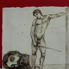 Arte: BALDOSA «RAJOLA» ESMALTADA A MANO AL AGUA CON MOTIVO DE DAVID Y GOLIAT. Lote 172205583