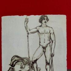 Arte: BALDOSA «RAJOLA» ESMALTADA A MANO AL AGUA CON MOTIVO DE DAVID Y GOLIAT. Lote 172205775