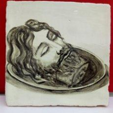 Arte: BALDOSA «RAJOLA» ESMALTADA A MANO AL AGUA CON MOTIVO DE LA CABEZA DE JUAN EL BAUTISTA. Lote 172206425