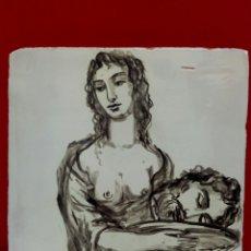 Arte: BALDOSA «RAJOLA» ESMALTADA A MANO AL AGUA CON MOTIVO DE SALOMÉ CON LA CABEZA DE JUAN. Lote 172206594