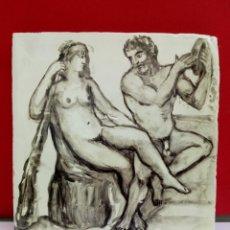 Arte: BALDOSA «RAJOLA» ESMALTADA A MANO AL AGUA CON ESCENA MITOLÓGICA. Lote 172206669
