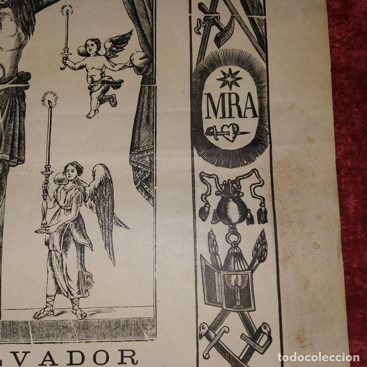 Arte: SANT SALVADOR. GRABADO SOBRE PAPEL. IMP. ROCA. MANRESA. ESPAÑA. XIX - Foto 3 - 172233813