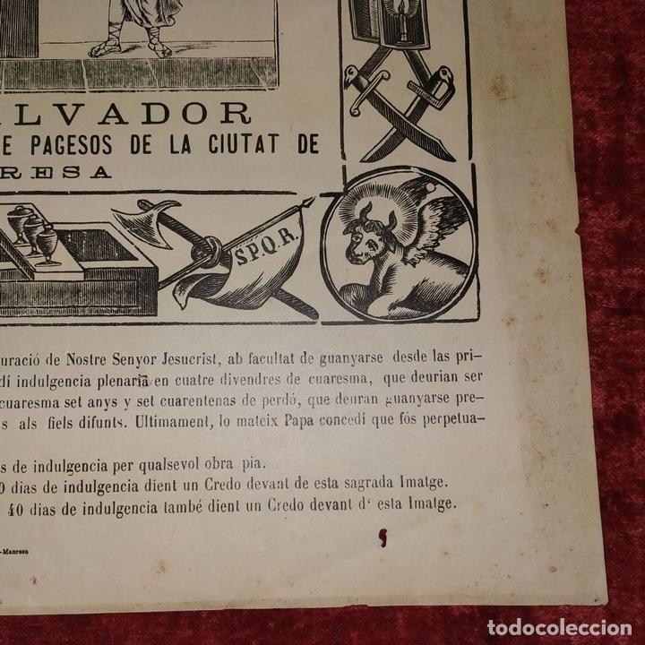 Arte: SANT SALVADOR. GRABADO SOBRE PAPEL. IMP. ROCA. MANRESA. ESPAÑA. XIX - Foto 10 - 172233813