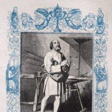 Arte: SAN BALDOMERO, CONFESOR - GRABADO DÉCADAS 1850-1860 - BUEN ESTADO. Lote 172248485
