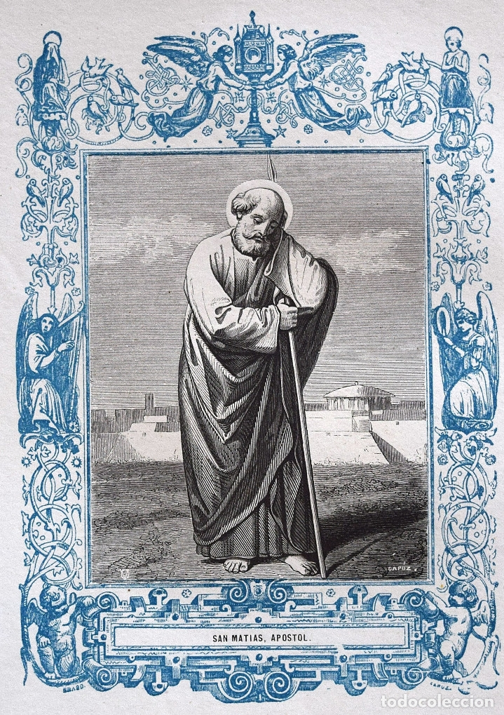 SAN MATÍAS, APOSTOL - GRABADO DÉCADAS 1850-1860 - BUEN ESTADO (Arte - Arte Religioso - Grabados)