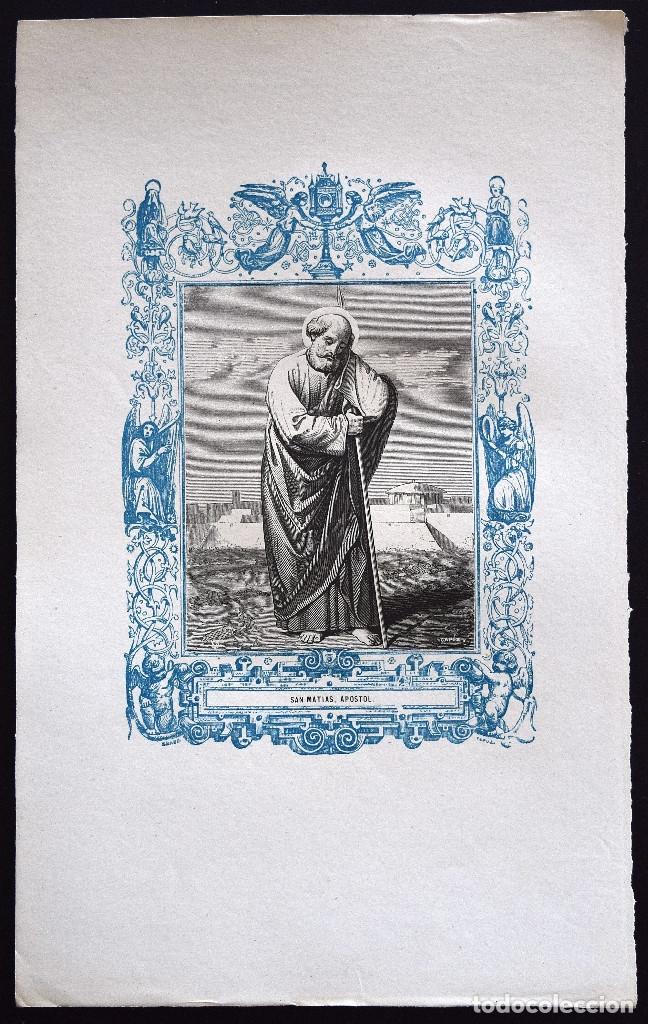 Arte: SAN MATÍAS, APOSTOL - GRABADO DÉCADAS 1850-1860 - BUEN ESTADO - Foto 2 - 172248618