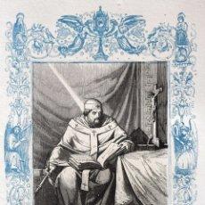 Arte: SAN LEANDRO, ARZOBISPO DE SEVILLA - GRABADO DÉCADAS 1850-1860 - BUEN ESTADO. Lote 172248987