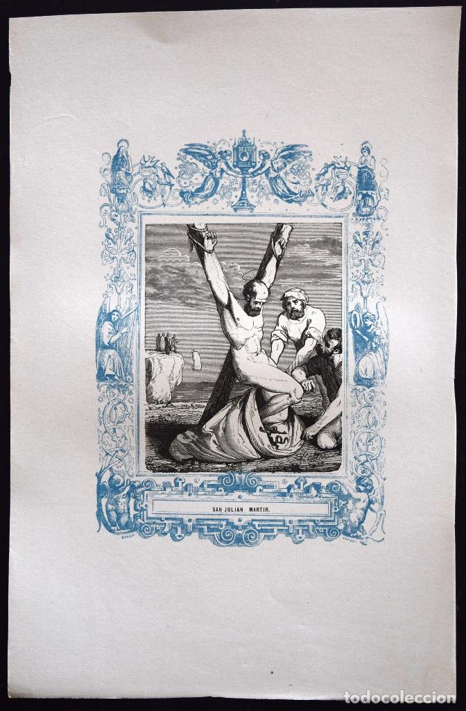 Arte: SAN JULIÁN, MARTIR - GRABADO DÉCADAS 1850-1860 - BUEN ESTADO - Foto 2 - 172249125