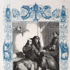 Arte: SAN ROSENDO, OBISPO - GRABADO DÉCADAS 1850-1860 - BUEN ESTADO. Lote 172285253