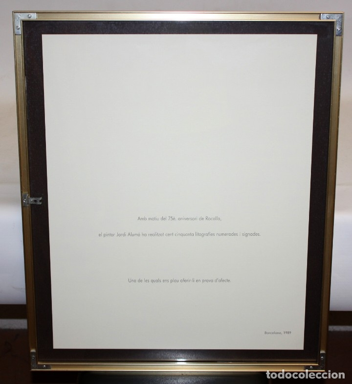 Arte: JORDI ALUMA - 75 ANIVERSARIO ROCALLA - LITOGRAFIA - 5/15 - DEDICADA A MACIA ALAVEDRA - 48 X 60 CM. - Foto 9 - 172310693